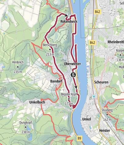 Karte / Rundwanderung zwischen Oberwinter und Rolandseck mit Hunden