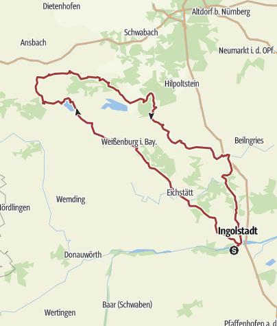 Karte / 26. Mai 2016 Rollertour in fränkische Seen Land