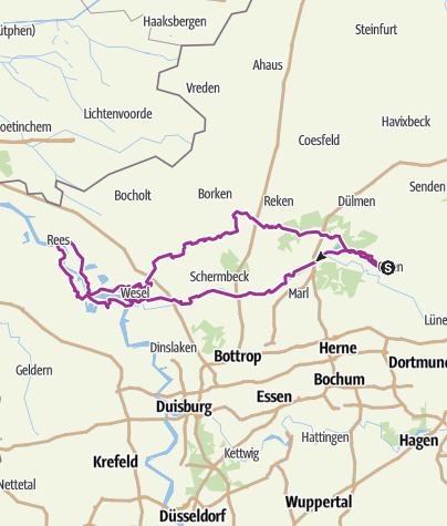 Karte / 3 Tages Tour Olfen Wesel Xanten Rasfeld Olfen