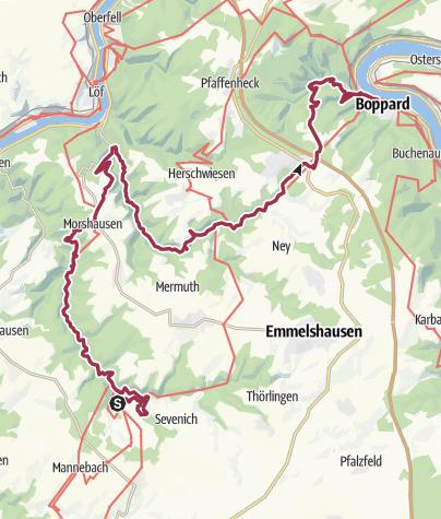Karte / Geführter 2-Schluchten-Wandermarathon am 09. Juli 2016 mit IVV-Wertung