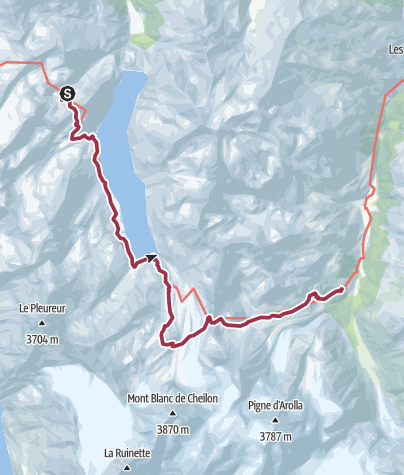 Map / WHR Alt Stage 7 Cabane de Prafleuri – Col des Roux – Cabane des Dix – Pas de Chèvres – Arolla
