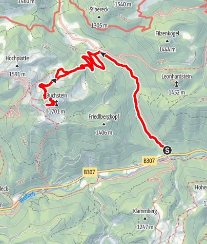 Karte / Rossstein über Schwarzenbachklamm
