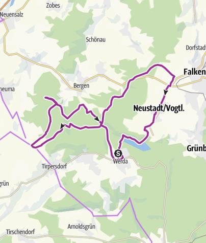 Karte / Vogtlandradweg Werda-Lottengrün-Streuberg-Falkenstein-Werda