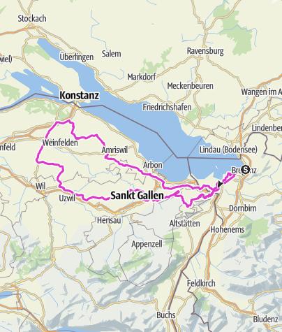 Mapa / Bregenz bis Weinfelden CH gegen