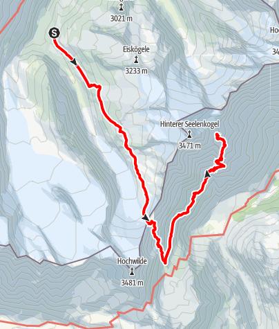 Karte / Langtalereckhütte zur Zwickauer Hütte übers Langtalerjoch