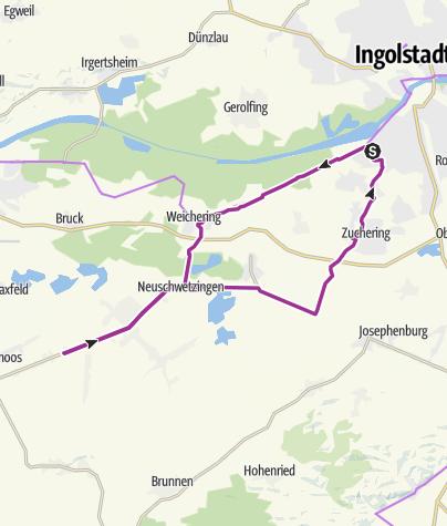 Karte / 24. Juni 2016 Ingoradler Biergartentour zum Karmann nach Grasheim