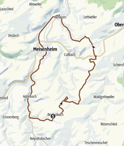 """Cartina / Gangloff-Höhen-Tour über Rehborn zurück """"Radfreunde Becherbach"""""""