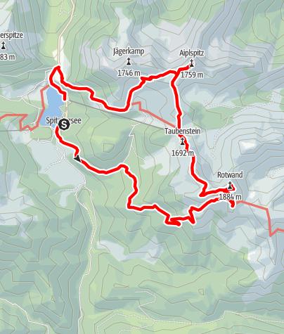 Karte / Spitzing über die Rotwand zur Aiplspitz