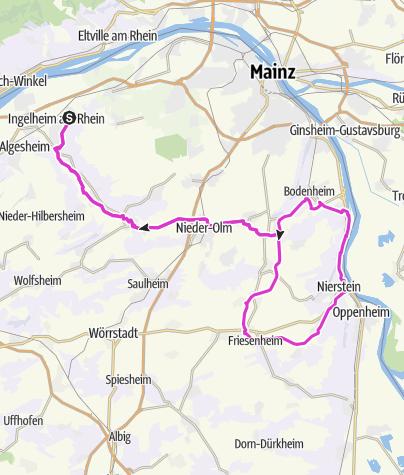 Karte / Rheinhessenrunde zwischen Ingelheim und Nierstein