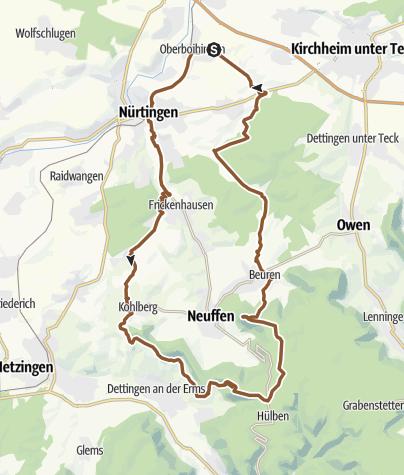 Karte / Rundtour von Oberboihingen über Burg  Neuffen