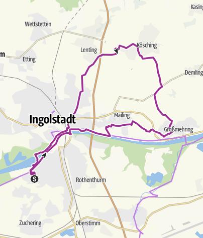Karte / 5. Juli 2016 Ingoradler Nachmittagstour Kösching