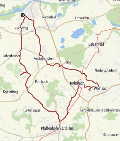 Karte / 6. Juli 2016 Rollertour am Nachmittag ins Hopfenland