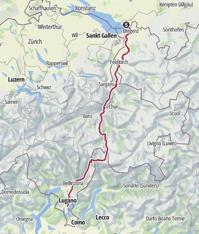 Karte / Tourenplanung am 8. Juli 2016