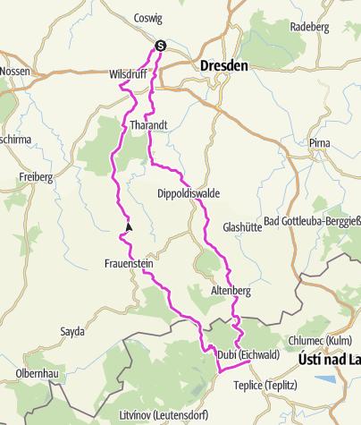 Karte / Tour 5, Niederwartha-Tschechien