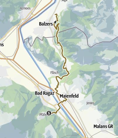 Karte / Tag 1 Wanderritt (Pfäfers CH -Balzers FL) 9.6.16