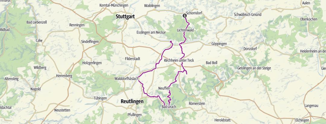 Carte / Winterbach Bad Urach HohenUrachSteig(Abstecher Freilichtmuseum Beuren)