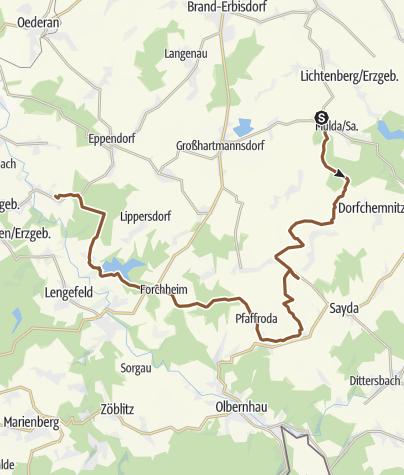 Karte / Mulda - Borstendorf über Wolfsgrund