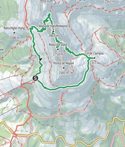 Karte / Rotwand Klettersteig Rosengarten