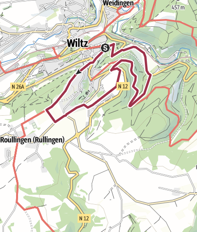 Karte / Lokaler Wanderweg B - Wiltz Kanounewee