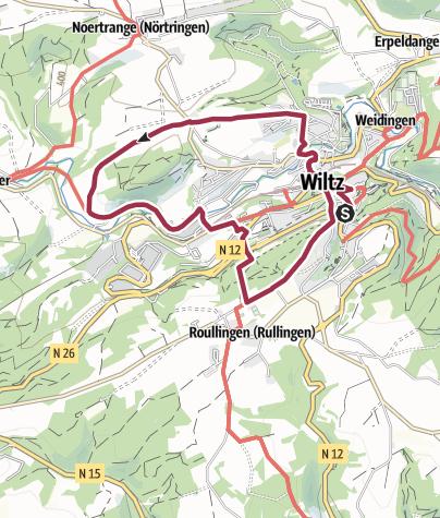 Karte / Lokaler Wanderweg D - Wiltz Roullingen