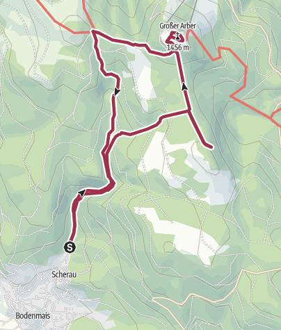 地图 / Großer Arber über Riesloch-Wasserfälle