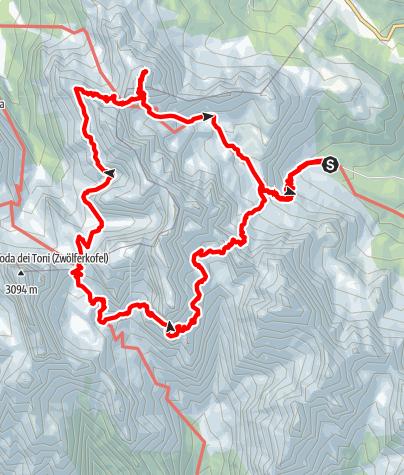 Map / Aldo Roghel - Cengia Giralba - Alpinisteig - Zandonella
