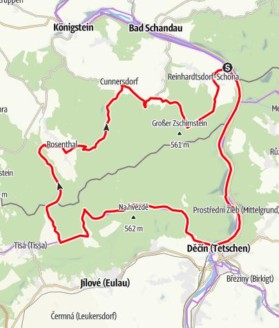 Karte / RR ERZ T01 Unterwegs Zwischen Reinhardtsdorf-Schöna Decin und Hohem Schneeberg