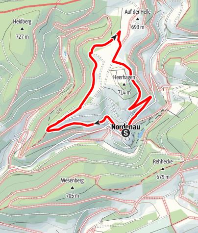 "Karte / Nordenau Rundweg 1 ""Sonnenpfad - Drift"""