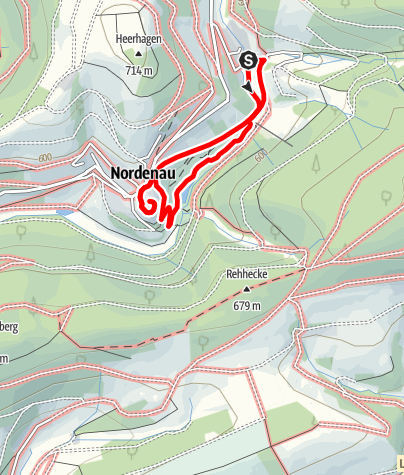 "Karte / Nordenau Rundweg 2 ""Kurpark-Burg-Kirche"""