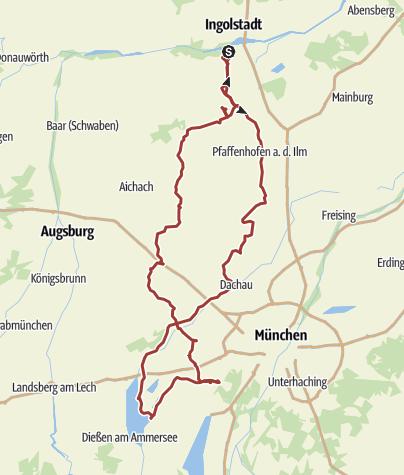 Karte /  15. August 2016 Rollertour zum AMMERSEE
