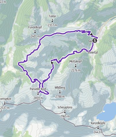 Karte / Brand - Amatschon Joch - Panüeler Kopf - Brand