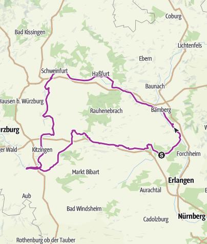 Karte / 4-Flüsse-Tour: Aisch, Regnitz, Main, Reiche Ebrach