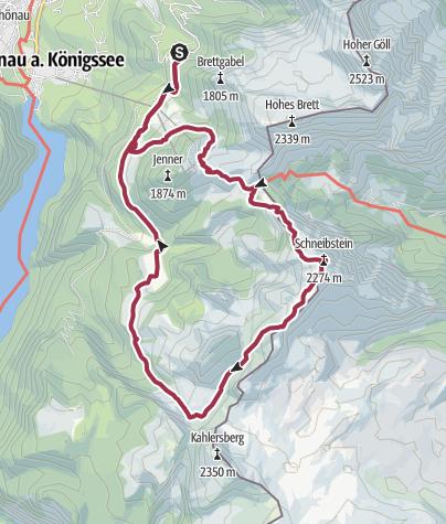 Karte / Kleine Reibn - Hinterbrand - Schneibstein - Seeleinsee - Königsbachalmen - Hinterbrand