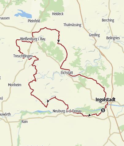 Karte / 20. August 2016  Rollertour nach Wettelsheim bei Treuchtlingen