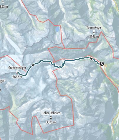 Karte / Großvenediger über Prager Hütte