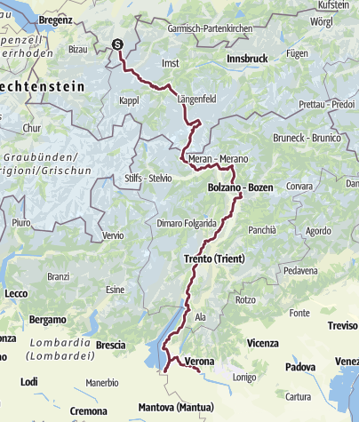 Karte / Alpenüberquerung Oberstdorf-Verona