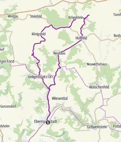 Karte / Radtour Ebermannstadt - Sanspareil 22. August 2016