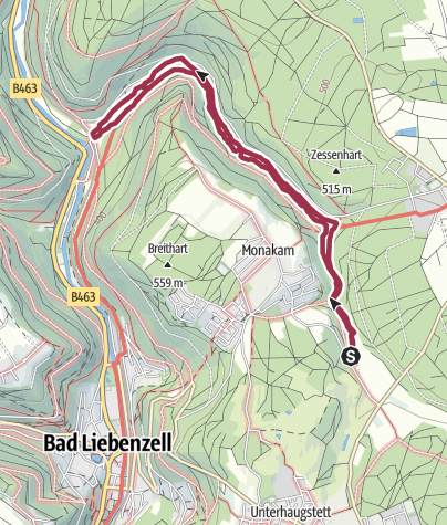 Karte / Monbachtal-Schlucht bei Bad Liebenzell - etwas abenteuerlich (mit Hunden)