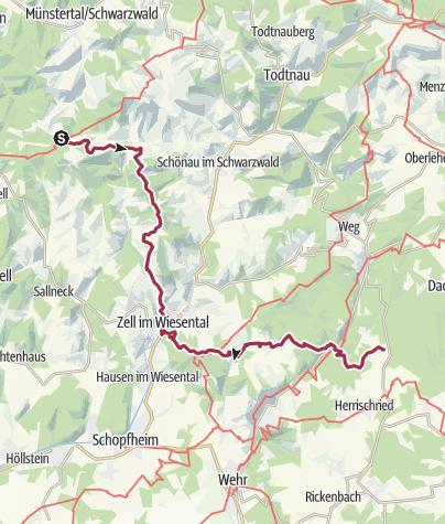 Karte / Eseltrekking Abschnitt I - Tourenplan II Badenweiler - Wehrhalden über Elbenschwand