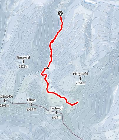 Karte / Skitour Obergail - Wasserköpfe