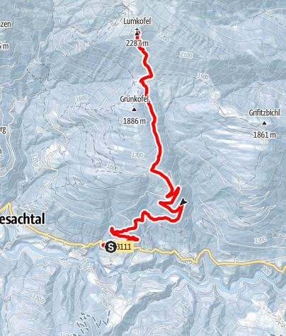 Karte / Skitour Oberring - Oberrasteralm - Lumkofel