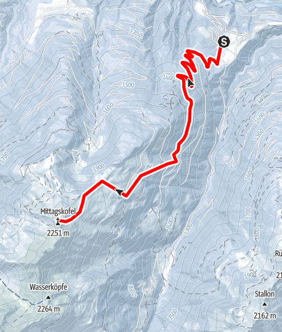 Karte / Skitour Niedergail - Mittagskofel