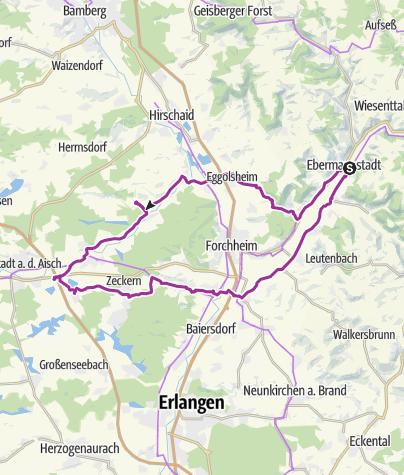 Karte / Ebermannstadt, Stiebarlimbach, Gremsdorf, Hausen, EBS 5. September 2016