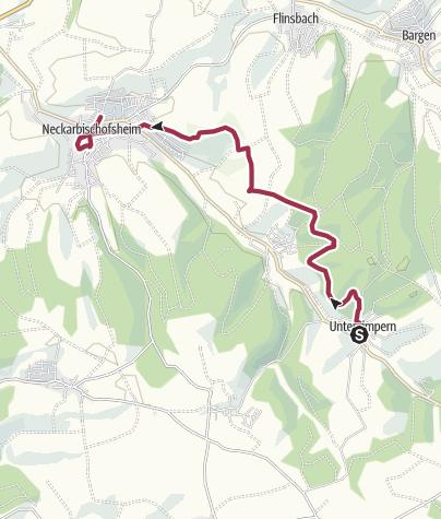 Karte / Untergimpern nach Neckarbischofsheim durch Forstwald