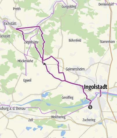Karte / 7. September 2016 Franzl`s E-Bike Tour zum Volksfest Eichstätt