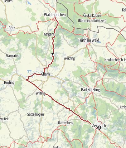 Karte / Pandurensteig - Nordteil von Viechtach bis Waldmünchen