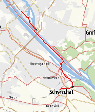 Karte / Jakobsweg Wien 1/4 - von Schwechat nach Kaisermühlen