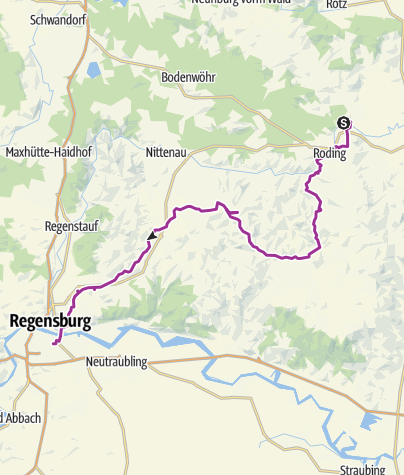 Karte / Kirchentour von Pösing (Bhf) über Roding und Falkenstein nach Regensburg (Hbf)