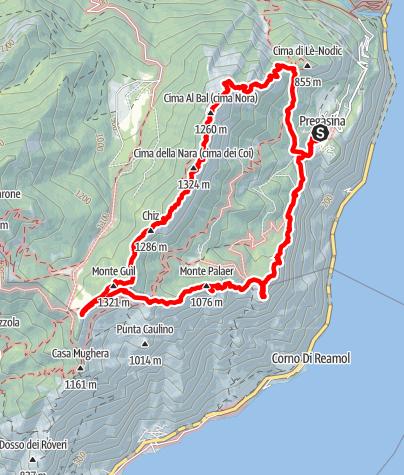 Karte / Immer an der Kante - Aussichtsreicher Höhenweg über Pregasina am Gardasee