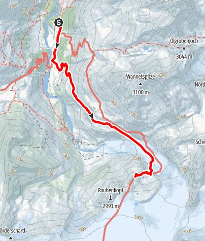 Karte / Rauhekopfhütte - Zustieg vom Gepatschhaus über den Gepatschferner